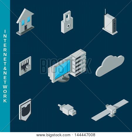 Isometric flat 3d internet and network equipment icons