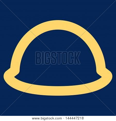 Hardhat vector icon. Style is stroke flat icon symbol, yellow color, blue background.