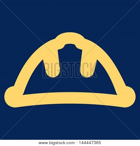 Helmet vector icon. Style is contour flat icon symbol, yellow color, blue background.