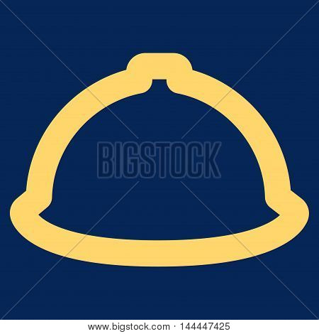 Helmet vector icon. Style is stroke flat icon symbol, yellow color, blue background.