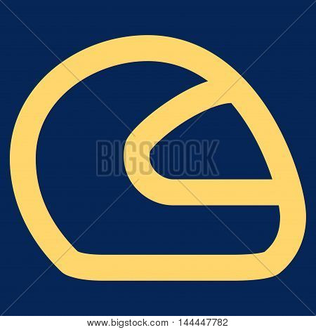 Motorcycle Helmet vector icon. Style is outline flat icon symbol, yellow color, blue background.