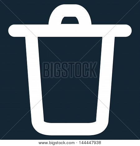 Bucket vector icon. Style is contour flat icon symbol, white color, dark blue background.