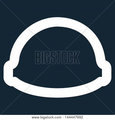 Builder Helmet vector icon. Style is stroke flat icon symbol, white color, dark blue background.