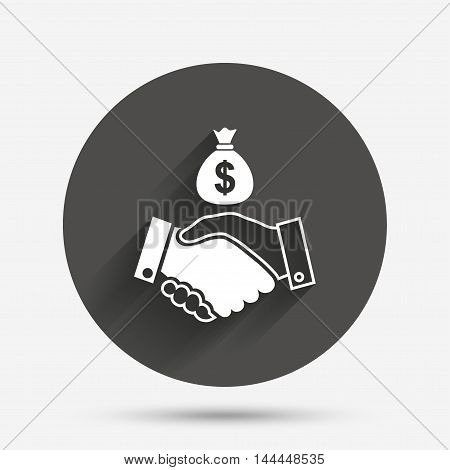 Dollar handshake sign icon. Successful business with money bag symbol. Circle flat button with shadow. Vector