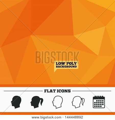 Triangular low poly orange background. Head icons. Male and female human symbols. Woman with pigtail signs. Calendar flat icon. Vector