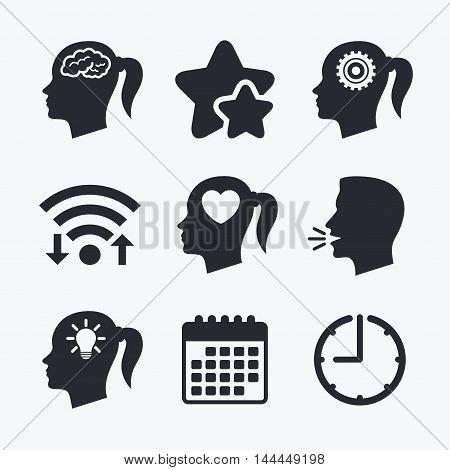 Head with brain and idea lamp bulb icons. Female woman think symbols. Cogwheel gears signs. Love heart. Wifi internet, favorite stars, calendar and clock. Talking head. Vector