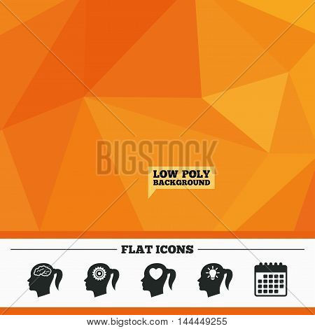 Triangular low poly orange background. Head with brain and idea lamp bulb icons. Female woman think symbols. Cogwheel gears signs. Love heart. Calendar flat icon. Vector