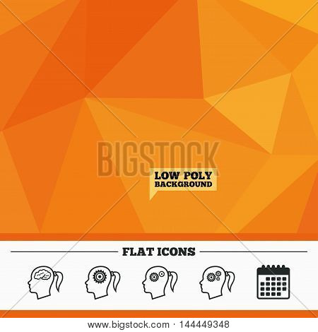 Triangular low poly orange background. Head with brain icon. Female woman think symbols. Cogwheel gears signs. Calendar flat icon. Vector