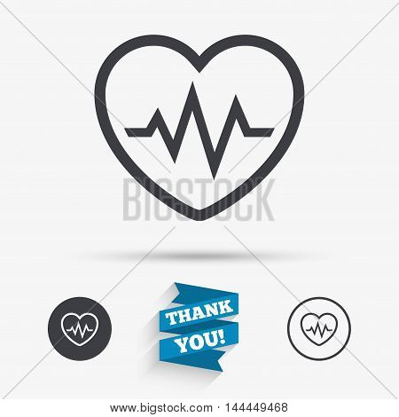 Heartbeat sign icon. Cardiogram symbol. Flat icons. Buttons with icons. Thank you ribbon. Vector