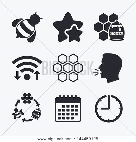 Honey icon. Honeycomb cells with bees symbol. Sweet natural food signs. Wifi internet, favorite stars, calendar and clock. Talking head. Vector