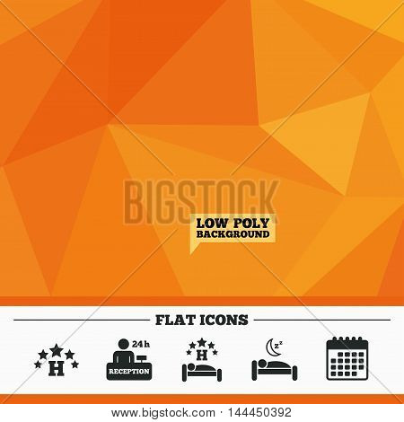 Triangular low poly orange background. Five stars hotel icons. Travel rest place symbols. Human sleep in bed sign. Hotel 24 hours registration or reception. Calendar flat icon. Vector