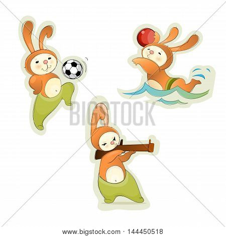 Vector illustration of a three sport hares