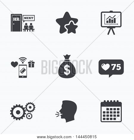 Human resources icons. Presentation board with charts signs. Money bag and gear symbols. Man at the door. Flat talking head, calendar icons. Stars, like counter icons. Vector