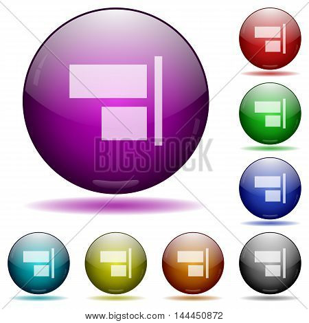 Set of color Align to right glass sphere buttons with shadows.