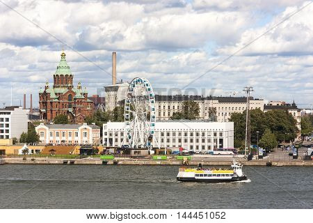HELSINKI FINLAND - AUGUST 27 2016: Cityscape of Helsinki capital of Finland on August 27 2016