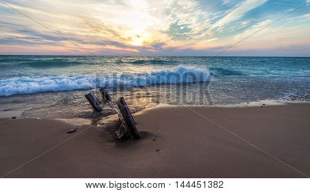 Coastal Lake Michigan Sunset. Sunset on the wide sandy beaches of Lake Michigan in the Lower Peninsula of Michigan.