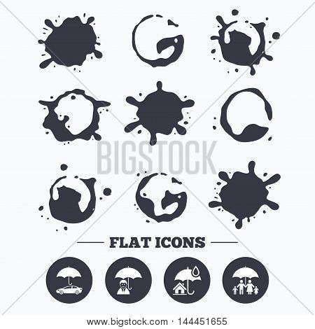 Paint, coffee or milk splash blots. Family, Real estate or Home insurance icons. Life insurance and umbrella symbols. Car protection sign. Smudges splashes drops. Vector