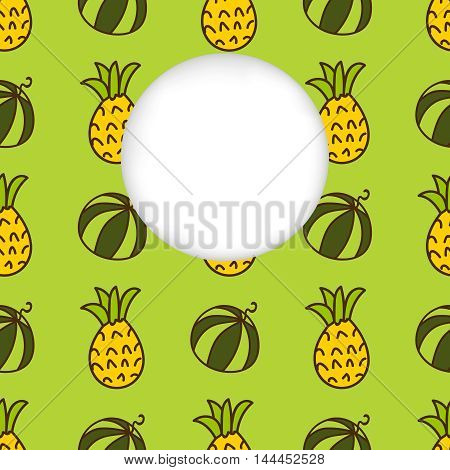 Greeting card background. Paper cut out, white shape with place for text. Frame with seamless pattern. Seamless summer background. Hand drawn pattern. Bright colorful watermelon and pineapple pattern