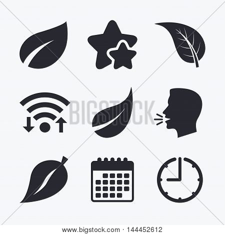 Leaf icon. Fresh natural product symbols. Tree leaves signs. Wifi internet, favorite stars, calendar and clock. Talking head. Vector