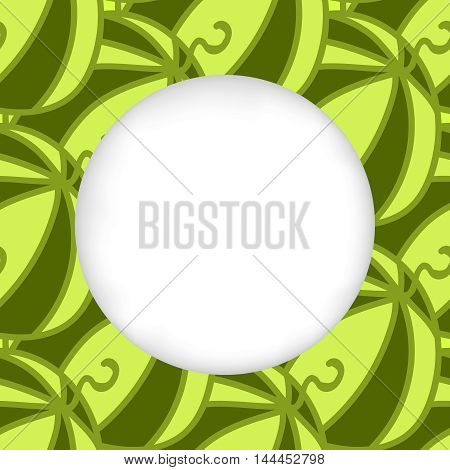 Greeting card background. Paper cut out, white shape with place for text. Frame seamless pattern. Seamless summer hand drawn pattern. Green juicy watermelon pattern. Seamless summer autumn background