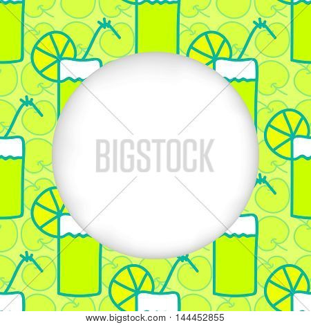 Greeting card background. Paper cut out, white shape with place for text. Frame with seamless pattern. Seamless summer background. Hand drawn pattern. Apple cocktail with slice of acid lemon or lime