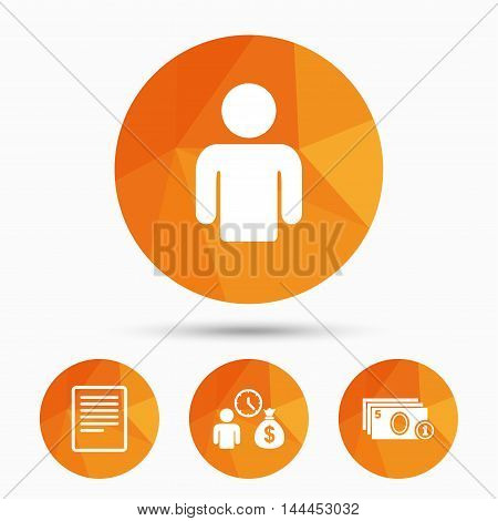 Bank loans icons. Cash money bag symbol. Apply for credit sign. Fill document and get cash money. Triangular low poly buttons with shadow. Vector