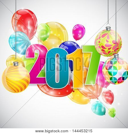 Color Glossy Balloons 2017 New Year  Background Vector Illustration eps10