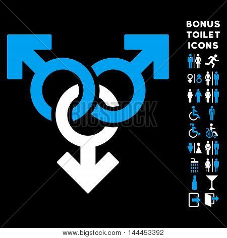 Group Gay Sex icon and bonus gentleman and female toilet symbols. Vector illustration style is flat iconic bicolor symbols, blue and white colors, black background.