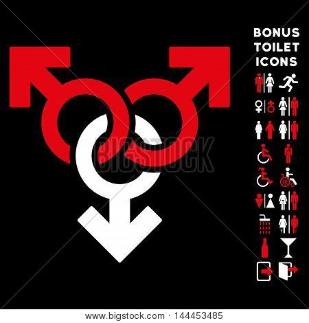 Group Gay Sex icon and bonus gentleman and female restroom symbols. Vector illustration style is flat iconic bicolor symbols, red and white colors, black background.