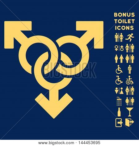 Group Gay Sex icon and bonus gentleman and female toilet symbols. Vector illustration style is flat iconic symbols, yellow color, blue background.