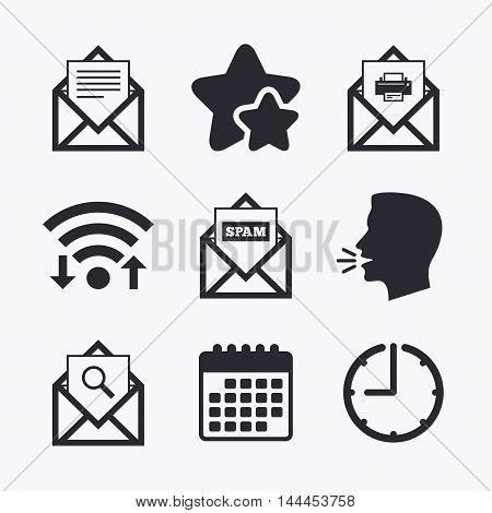 Mail envelope icons. Print message document symbol. Post office letter signs. Spam mails and search message icons. Wifi internet, favorite stars, calendar and clock. Talking head. Vector