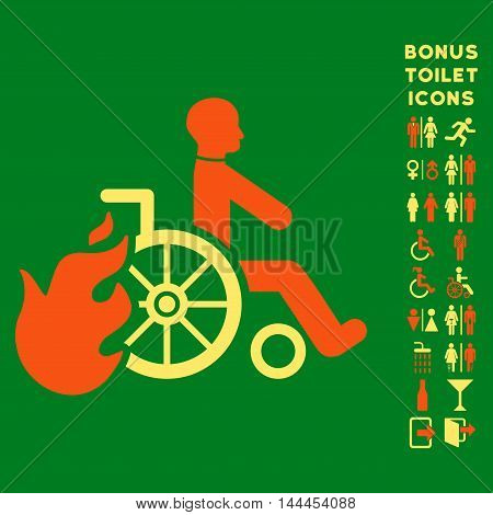 Burn Patient icon and bonus male and lady lavatory symbols. Vector illustration style is flat iconic bicolor symbols, orange and yellow colors, green background.