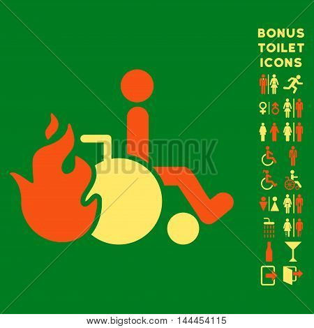 Burn Patient icon and bonus male and woman toilet symbols. Vector illustration style is flat iconic bicolor symbols, orange and yellow colors, green background.