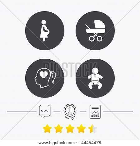 Maternity icons. Baby infant, pregnancy and buggy signs. Baby carriage pram stroller symbols. Head with heart. Chat, award medal and report linear icons. Star vote ranking. Vector