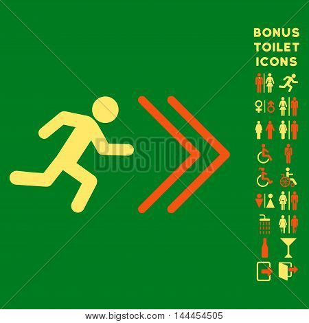 Exit Direction icon and bonus gentleman and female restroom symbols. Vector illustration style is flat iconic bicolor symbols, orange and yellow colors, green background.