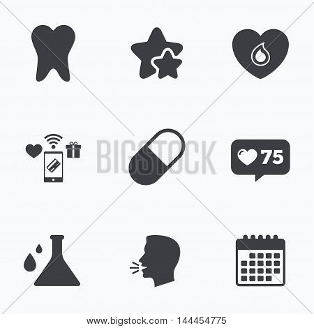 Maternity icons. Pill, tooth, chemistry and heart signs. Blood donation symbol. Lab bulb with drops. Dental care. Flat talking head, calendar icons. Stars, like counter icons. Vector
