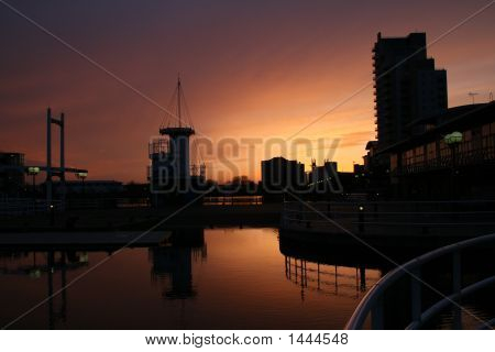 Quays Ship Canal Sunset