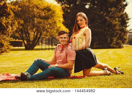 Couple Spending Time Together In Park.