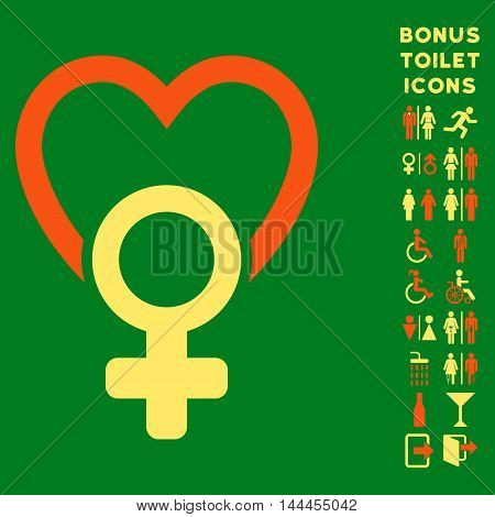 Female Love icon and bonus male and woman WC symbols. Vector illustration style is flat iconic bicolor symbols, orange and yellow colors, green background.