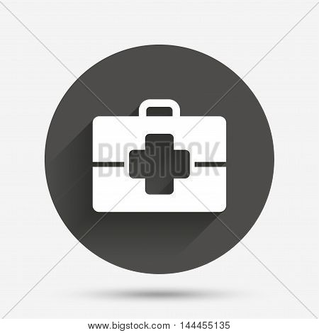 Medical case sign icon. Doctor symbol. Circle flat button with shadow. Vector