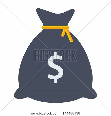Money bag with dollar sign in flat style.