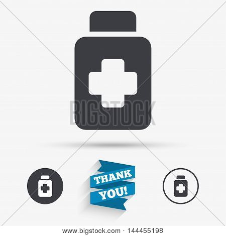 Drugs sign icon. Pack with pills symbol. Flat icons. Buttons with icons. Thank you ribbon. Vector