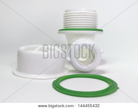 Plastic strainer for drain for hole of sink and gasket ring