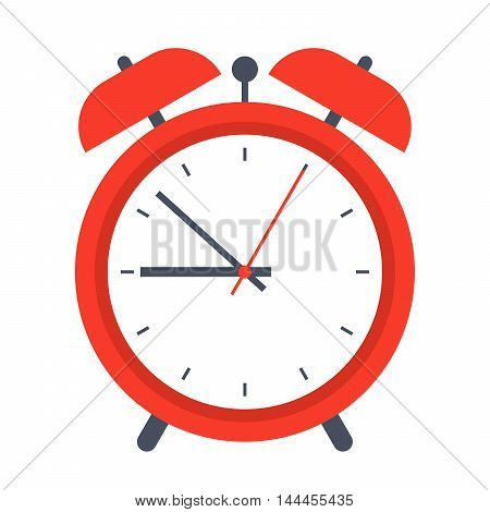 Classic red alarm clock in flat style.