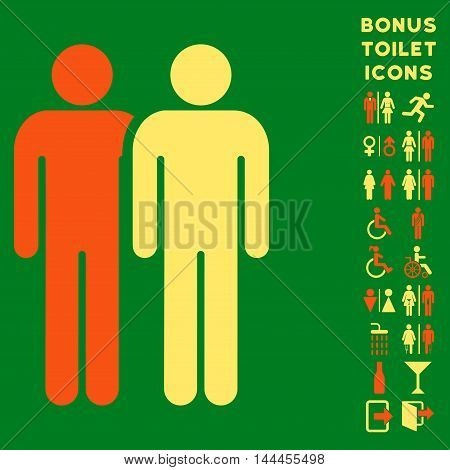 Gay Couple icon and bonus gentleman and woman toilet symbols. Vector illustration style is flat iconic bicolor symbols, orange and yellow colors, green background.