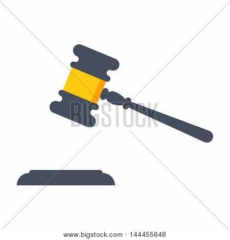 Gavel judge vector illustration in flat style.