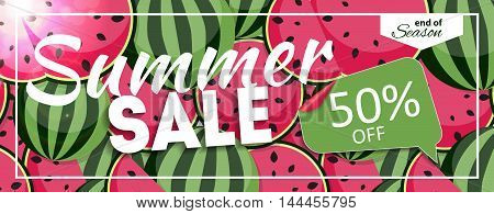 Summer Sale end of Season Banner. Business Discount Card. Vector Illustration EPS10