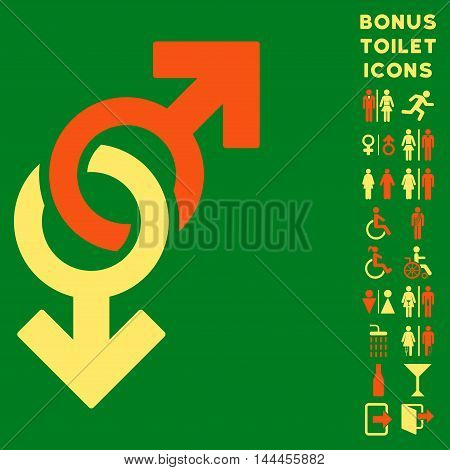 Gay Symbol icon and bonus man and lady toilet symbols. Vector illustration style is flat iconic bicolor symbols, orange and yellow colors, green background.