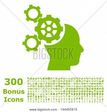 Brain Mechanics icon with 300 bonus icons. Vector illustration style is flat iconic symbols, eco green color, white background.