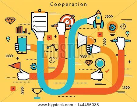 Line flat business design and infographic elements with human hands cooperating in corporate business, teamwork, management, brainstorming, planning, organization and implementation concept
